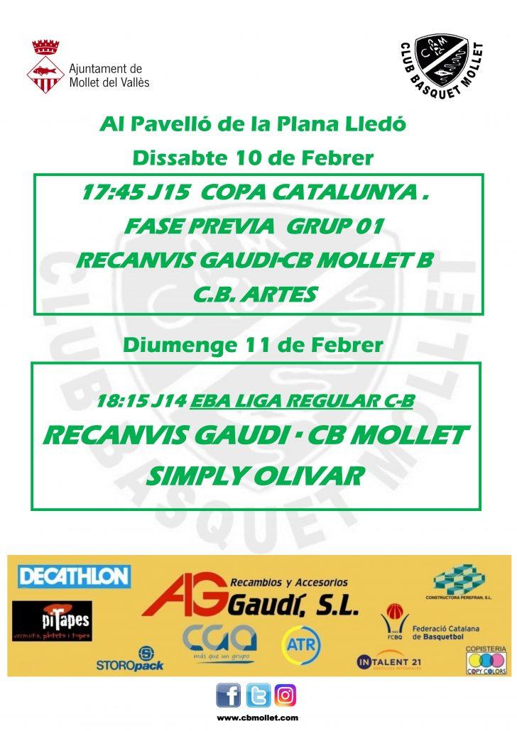 Jornada 10 i 11 febrer Racanvis Gaudi CB Mollet